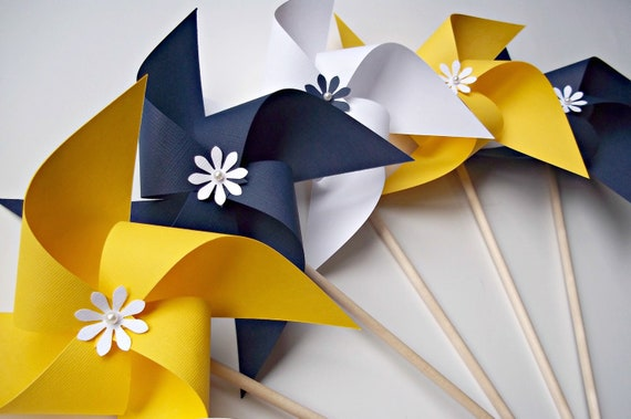 Paper Pinwheels In Nautical Colors Wedding Decor Navy Blue