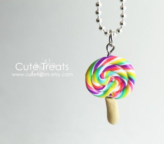 Rainbow Lollipop Necklace - Super Cute