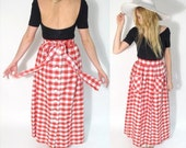 CLEARANCE 35% OFF.  1970s Vintage Gingham Picnic Maxi Skirt. Size Small.