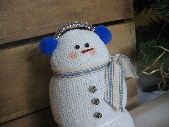 Plush Snowman White Evenweave Plush Holiday Snowman Silver and Blue