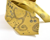 Necktie Yellow Silver Hand Painted Floral Tie OOAK Ready To Ship