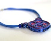 Necklace Blue - Textile Pendant Red - Cloud Design Jewelry - OOAK Ready To Ship