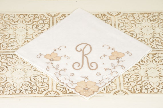 Vintage Handkerchief with Embroidered Letter R and Flowers