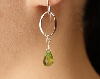 Peridot Earrings Dangle Drop Earrings Green Peridot Jewelry Peridot Earings bridesmaid gift wedding bridal jewelry bridal earrings wedding