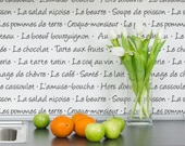 French Menu Typography Wall Stencil -Allover Stencil for Modern Bistro Kitchen Wall Decor