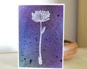 Dandelion Card, Blank, Purple, Blue