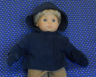 15 inch Doll Clothes fits Bitty Twin Boy, Fleece Jacket and Mittens - Various Colors