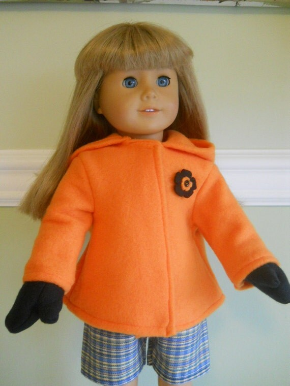 18 inch doll clothes american girl fleece jacket and mittens - Orange and Black