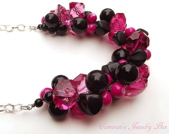 Hot Pink and Black Necklace, Chunky Statement Necklace, Cluster Necklace, Bridesmaid Necklace, Wedding Jewelry Necklace
