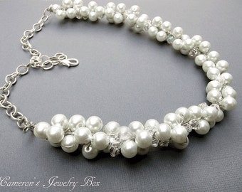 Wedding Pearl Necklace, Statement Necklace, Beaded Swarovski Crystal Pearl Necklace, Wire Crochet, Bridal Jewelry