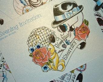 50's Bride & Groom Sugar Skull Evening Tattoo Wedding Invitations