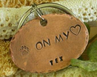 Copper Handstamped Pet Memorial Remembrance Keychain-Pawprints on my Heart