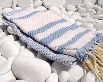 Turkishtowel-Highest Quality Pure Organic Cotton,Hand Woven,Bath,Beach,Spa,Yoga Towel or Sarong-Mathing-Natural Cream and Blue