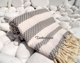 Turkishtowel-Highest Quality Pure Organic Cotton,Hand Woven,Bath,Beach,Spa,Yoga Towel or Sarong-Mathing-Natural Cream and Gray