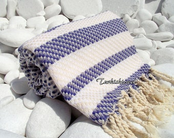 Turkishtowel-Highest Quality Pure Organic Cotton,Hand Woven,Bath,Beach,Spa,Yoga Towel or Sarong-Mathing-Natural Cream and Navy,Sailor Blue