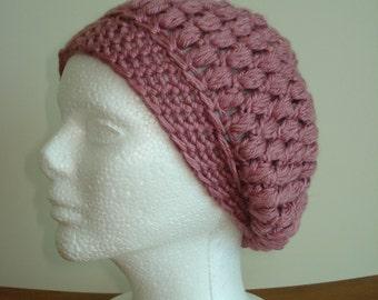 Handmade Crochet Beanie Vintage Pink Hat