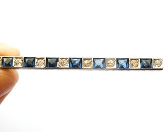 Antique Art Deco Blue PASTE Bar Brooch by ALL Co.