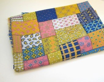 1960's Patchwork Open Weave Fabric, Colorful