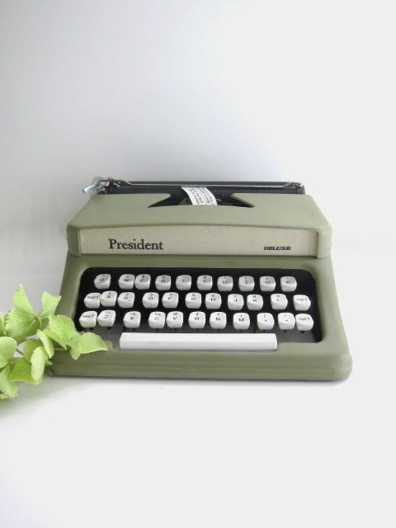President Toy Typewriter, Green, in Carry Case and Original Box