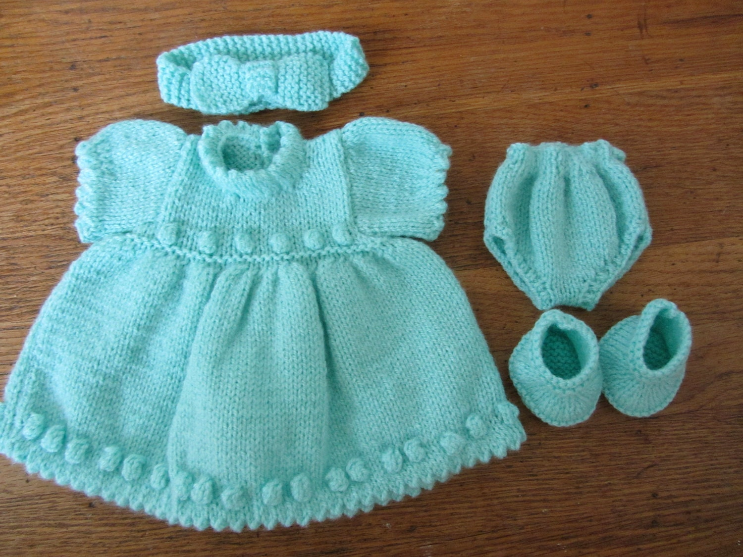 Baby Doll Clothes Set Hand Knitted