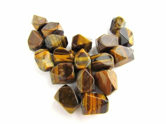 Large Tiger Eye Faceted Nugget Beads