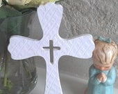 Wooden Cross for Baby - Hand textured white