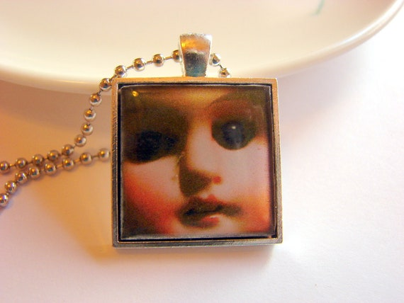 Abandoned Pendant Necklace - Doll Face - Paper Resin and Metal - Creepy Morbid Halloween - With Chain