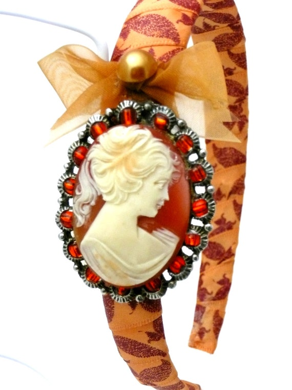 Vintage Cameo, Cabochon Headband, Victorian Fascinator in Ivory, Orange, Rust, with Glass Beads, One of a Kind