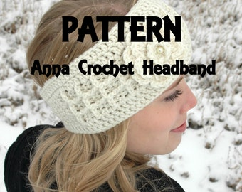 Anna Crochet PDF PATTERN for Headband headwrap and flower