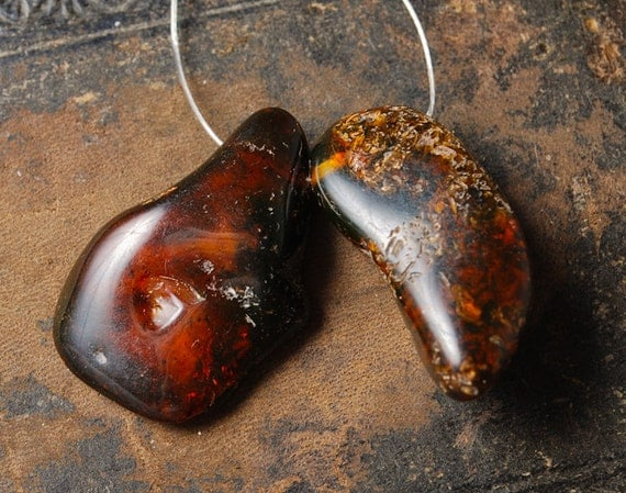 Set of 2 genuine Baltic Amber pendants, black