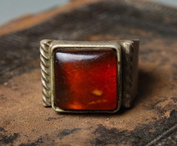 Vintage genuine Baltic amber ring, Size 10