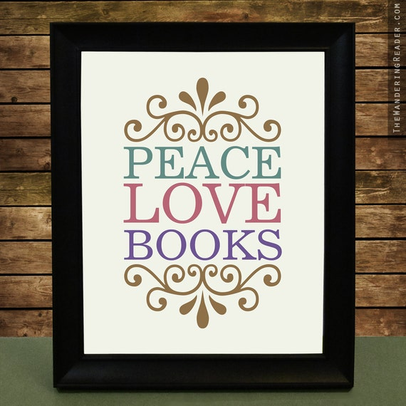peace love books print