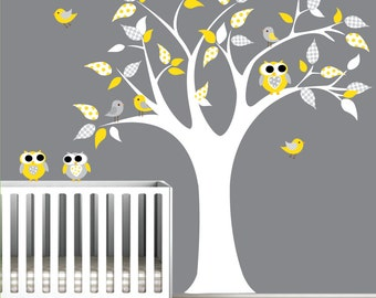 Decals Vinyl Wall Decal Tree with Owls Birds-Nursery Baby Wall Art