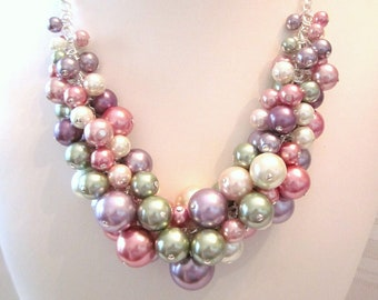 """The """"Shades of Spring"""" Pearl Cluster Necklace - Chunky, Choker, Bib, Necklace, Wedding, Bridal, Bridesmaid, Prom, Formal"""