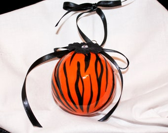 Hand Painted Ornament, Tiger Print