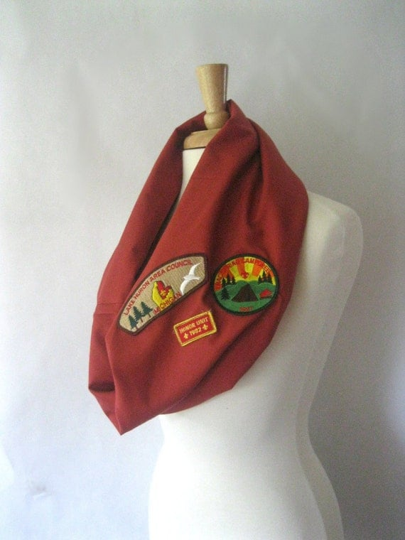 Hipster Scarf - Red Cotton with Boy Scout Patches - Snood Scarf Cowl Eco Friendly