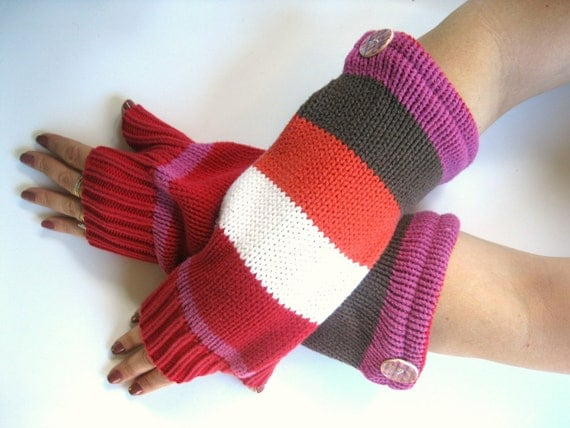 Cotton Fingerless Gloves - Funky Stripes in Red White Orange and Brown Texting Gloves Wrist Warmers : Upcycled Recycled Repurposed