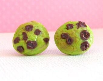Earrings Green Chocolate Chip Cookie Stud Earrings, Fake Food, Kawaii