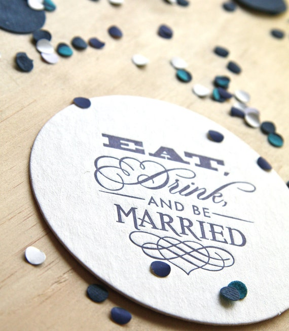 Wedding table decoration, Letterpress Coaster Eat, Drink and be Married set of 6 navy blue, royal blue, dark blue, gift tag, wedding gift