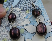 Dark Red Dyed Fresh Water Pearl Dangle Earrings
