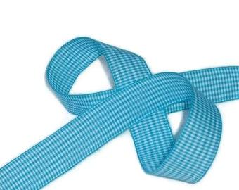 "Destash...Turquoise / White Ribbon 5/8"" X 8 yards"