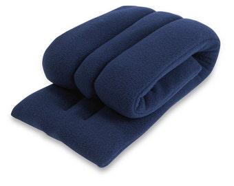 Microwave Hot Cold Body Wrap, 6x24, Rice, Navy, Neck Shoulder Back Moist Heat, Extra Long and Wide,Fleece, Spot Clean