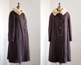 SALE 1960s Coat - 60s Coat - Brown Boucle Wool Fur Collar Coat