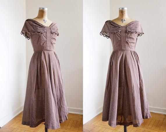 SALE 1940s Dress - 40s Dress - Brown Swiss Dot Day Dress