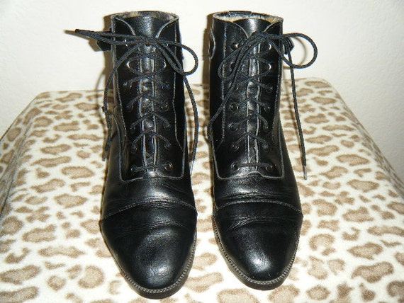 RESERVED DO NOT buy  Flat Black Leather Lace Up Ankle Buckle Boots Size 7 1/2