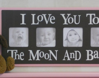 Brown and Pink Nursery Decor - I Love you to the Moon and Back - Brown and Pastel Pink Nursery Wall Art Baby Sign 4x4 Picture Frame