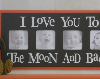 Orange and Brown Nursery Decor - I Love you to the Moon and Back - Tangerine Nursery Wall Art Baby Sign 4x4 Picture Frame
