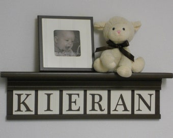 """Letter Wooden Wall Nursery Custom Letters for KIERAN 24"""" Brown Shelf Sign 6 Letters Brown Boy Nursery Decor"""