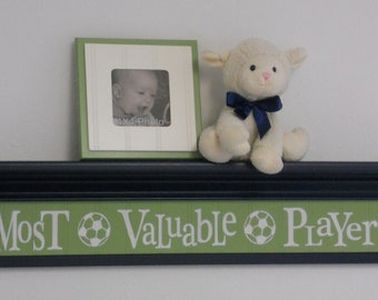 "Navy Blue Baby Boy Nursery Sign - Most Valuable Player -  Sign on 30""  Navy Blue Shelf - Green Soccer Ball Sport Wall Decor Baby Nursery"