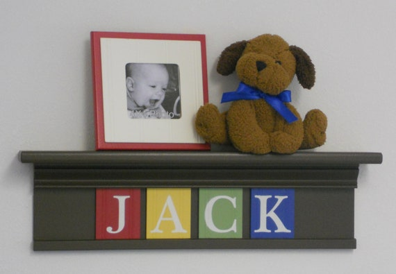 "Baby Nursery Wall Shelves - Name for JACK - 24"" Shelf in Brown, - 4 Wall Letters Red, Yellow, Green and Blue"
